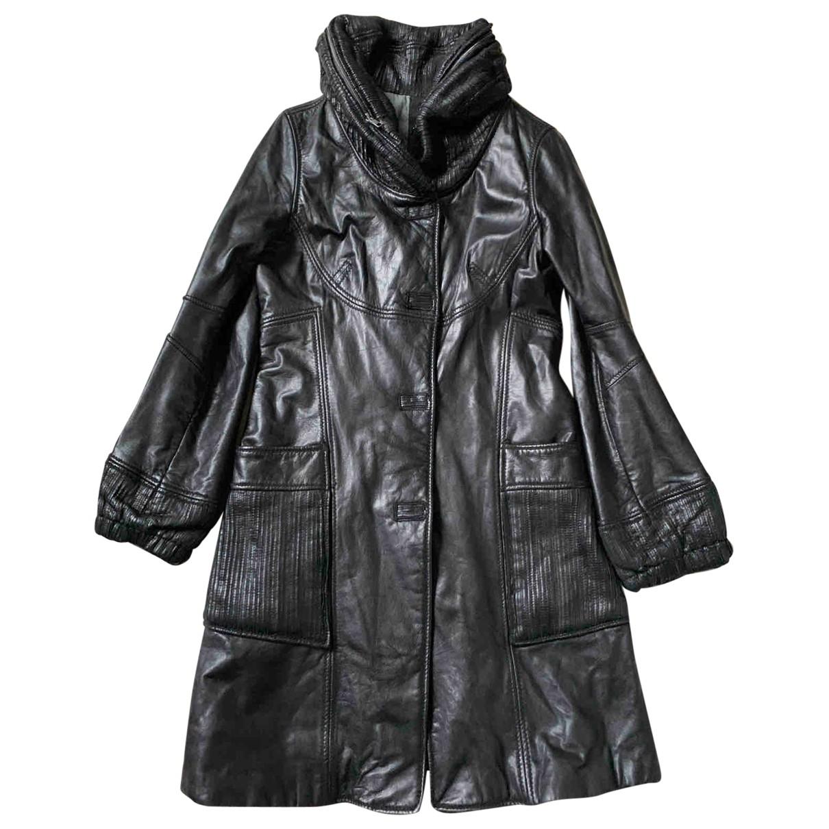 Sylvie Schimmel - Manteau   pour femme en cuir - noir