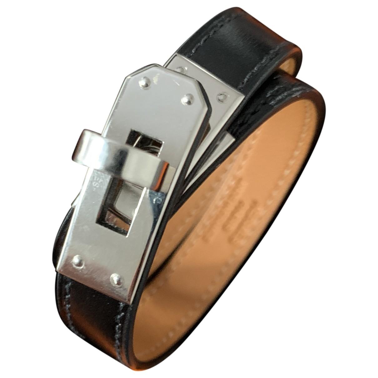 Hermes Kelly Double Tour Armband in  Schwarz Leder