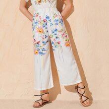 Hose mit Streifen & Blumen Muster