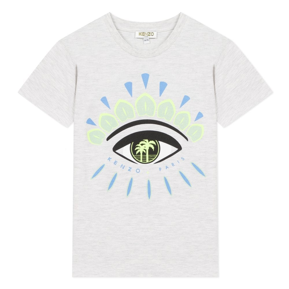 Kenzo Kids Eye Graphic Logo T-Shirt Colour: GREY, Size: 6 YEARS