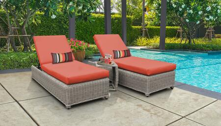 Coast Collection COAST-W-2x-ST-TANGERINE Patio Set with 2 Chaise with Wheels  1 Side Table - Beige and Tangerine