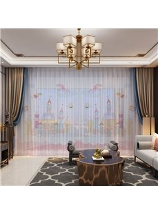 3D Cartoon Happy Life in the Castle Printed Breathable 2 Panels Custom Sheer