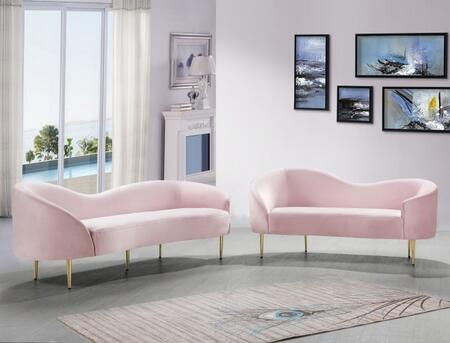 Ritz Collection 659PINKSL 2-Piece Living Room Set with Sofa and Loveseat in
