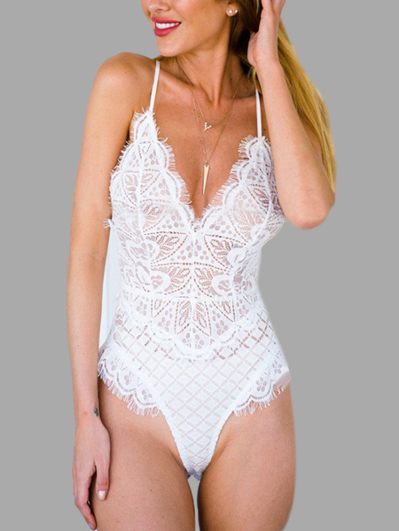 Yoins White Sexy V-neck Lace Design Teddy with Random Lace Pattern