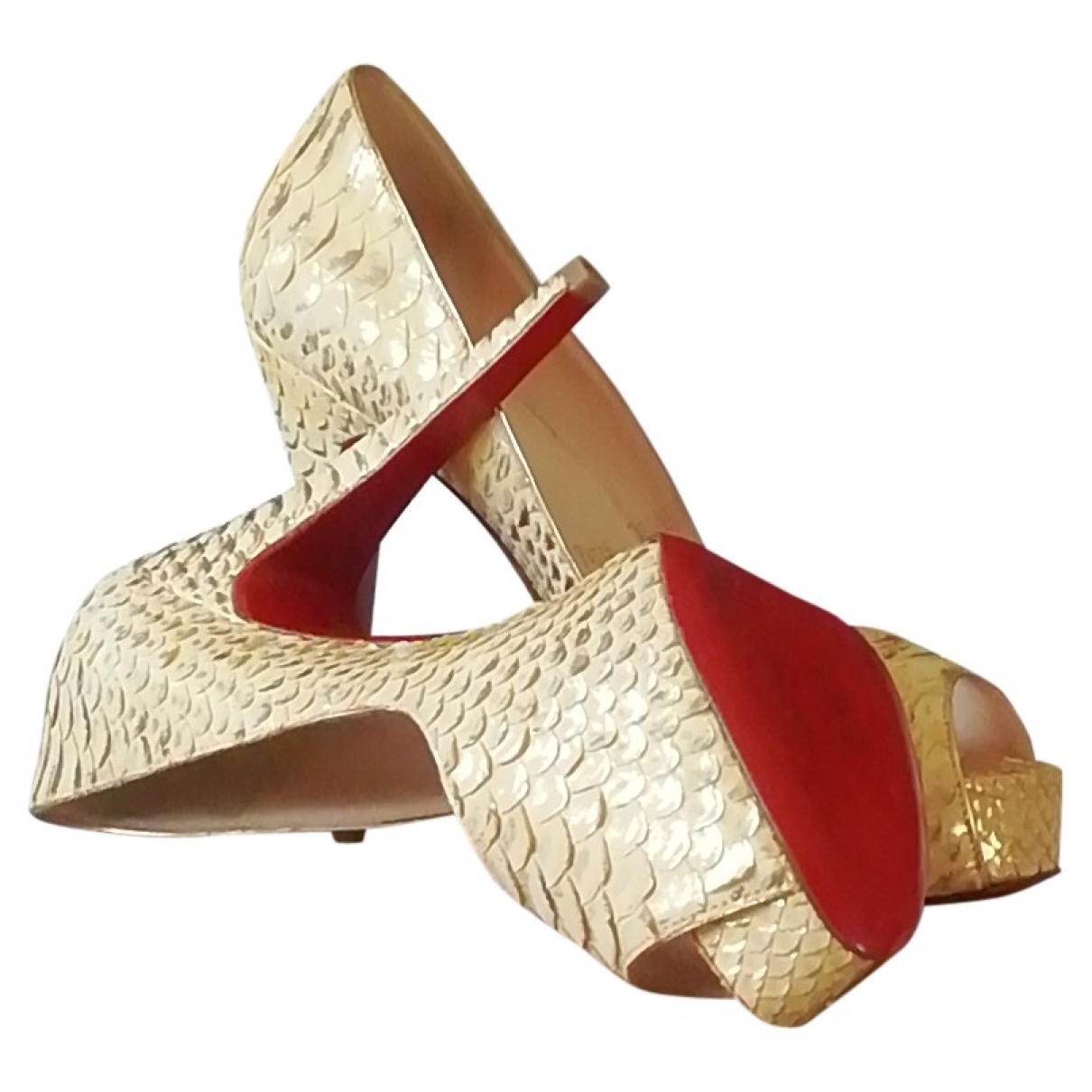 Christian Louboutin Very Privé Gold Python Heels for Women 37.5 EU