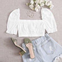 Eyelet Embroidered Puff Sleeve Top