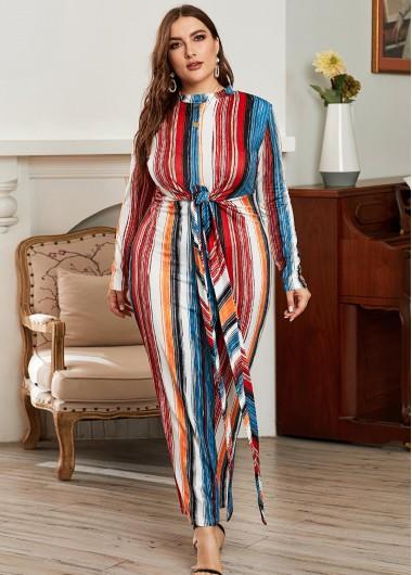 Rainbow Stripe Tie Front Plus Size Maxi Dress - 4XL