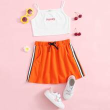 Girls Letter Graphic Cami Top & Striped Tape Side Skirt Set