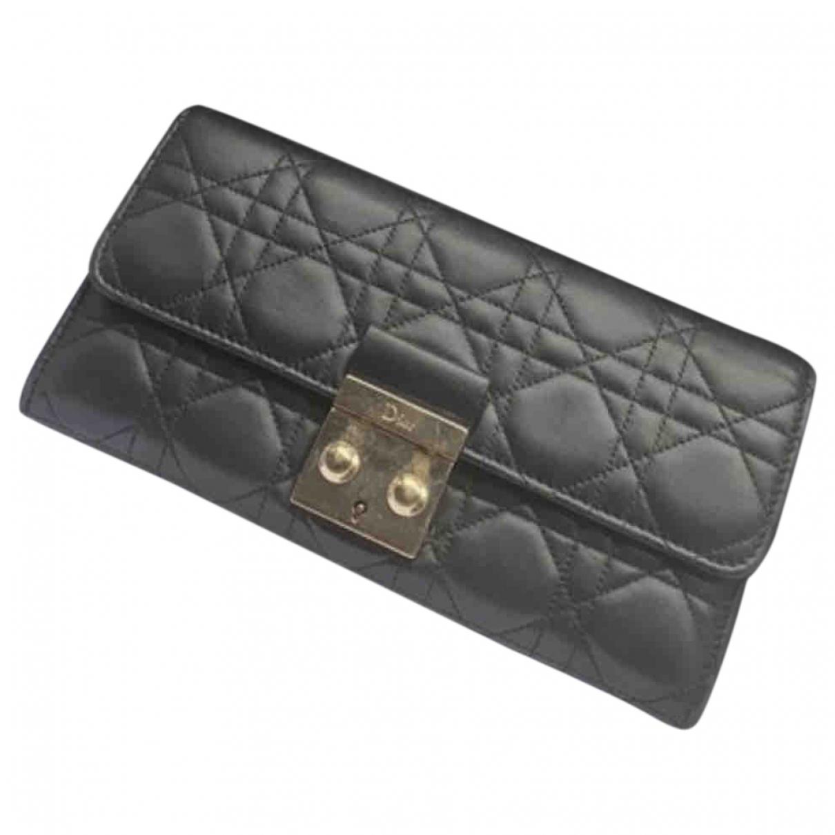 Dior - Portefeuille Miss Dior pour femme en cuir - noir