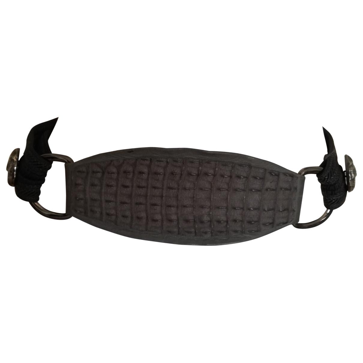 Yves Saint Laurent \N Grey Leather belt for Women 75 cm