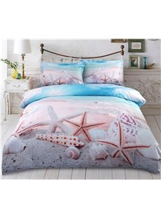 Vivilinen 3D Starfish and Shells on the Beach Printed 5-Piece Comforter Sets Colorfast Wear-resistant Skin-friendly