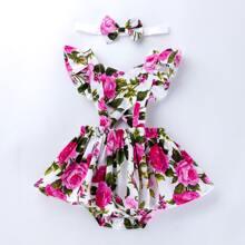 Baby Girl Floral Peekaboo Combo Bodysuit Dress With Headband
