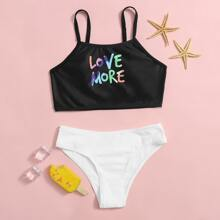 Girls Letter Graphic Rib Bikini Swimsuit