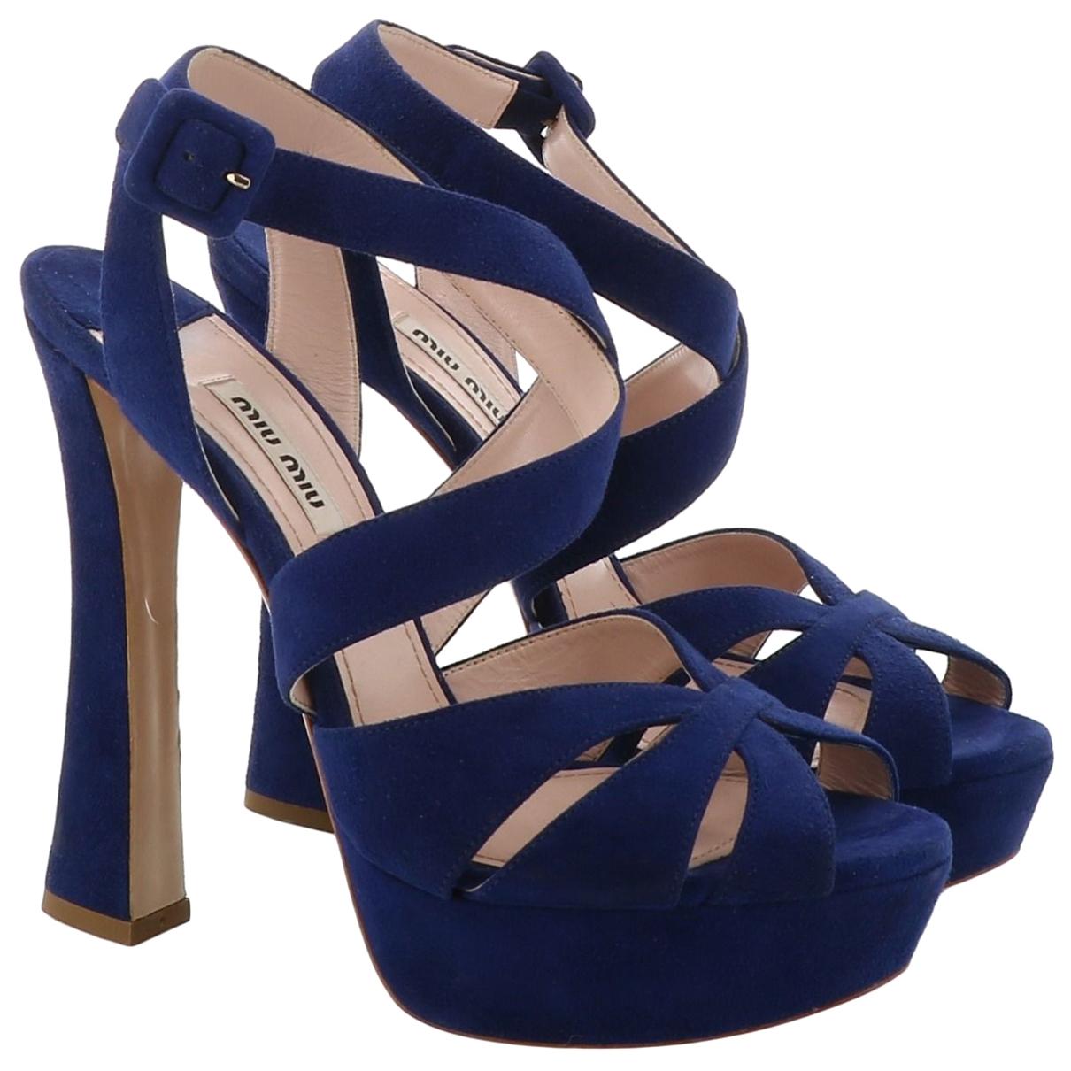 Miu Miu \N Blue Suede Sandals for Women 38 EU