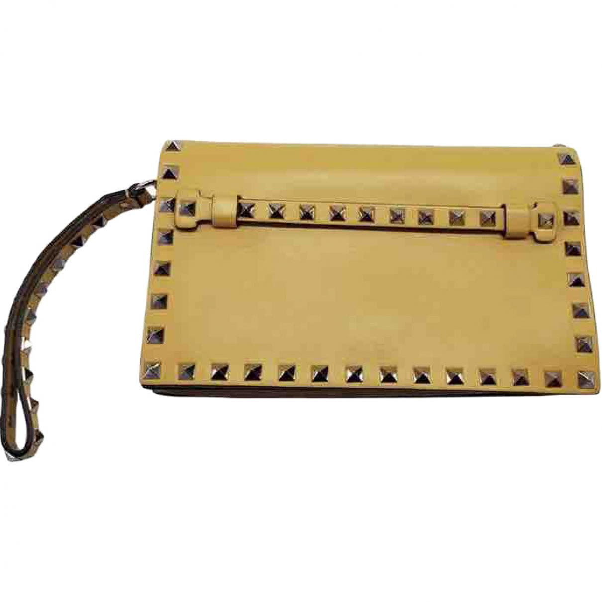 Valentino Garavani Rockstud Yellow Leather Clutch bag for Women \N