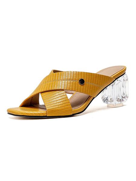 Milanoo Zapatos de tacon claro con tacon de bloque y tacon de mula para mujer