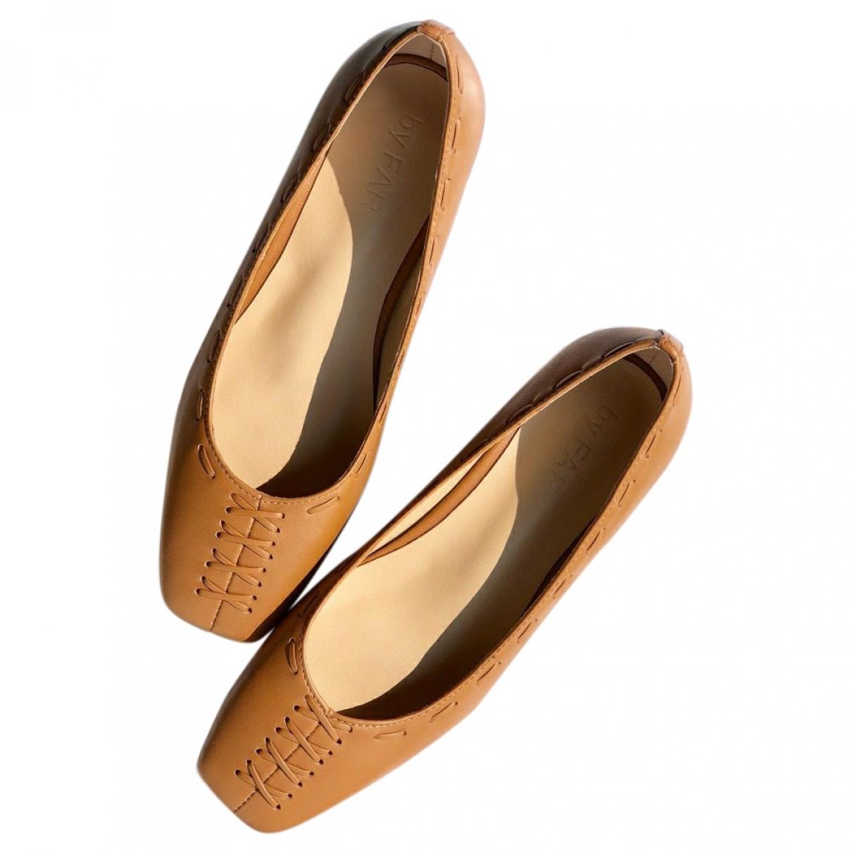 By Far \N Camel Leather Ballet flats for Women 36 EU