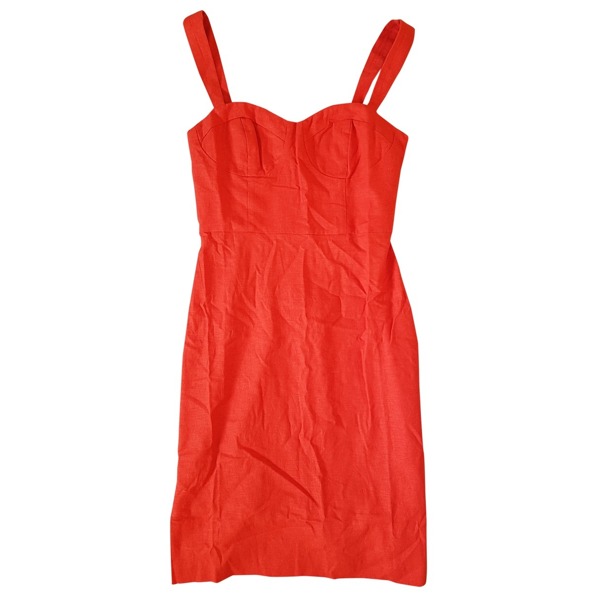 Lpa - Robe   pour femme en lin - rouge