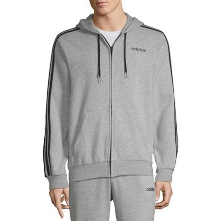 adidas Essential Full Zip Mens Long Sleeve Hoodie, Medium , Gray