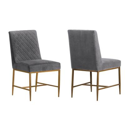 Memphis Collection LCMMSIGRY Set of 2 Dining Chairs with Tapered Legs  Diamond Stitch Pattern  Antique Brass Accent Frame and Velvet Fabric