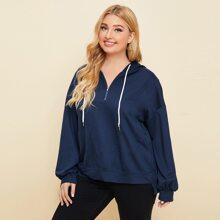 Plus Solid Half Zip Hooded Sweatshirt