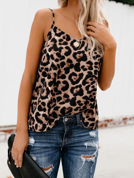 Yoins Casual Leopard V-neck Sleeveless Cami