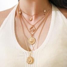 4pcs Hollow Out Sun Design Necklace