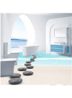 Fresh Simple Style Pebbles Path on Seaside Pattern Waterproof 3D Floor Murals