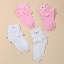 2 Paare Kleinkind Maedchen Socken mit Herzen Dekor und Spitzenbesatz
