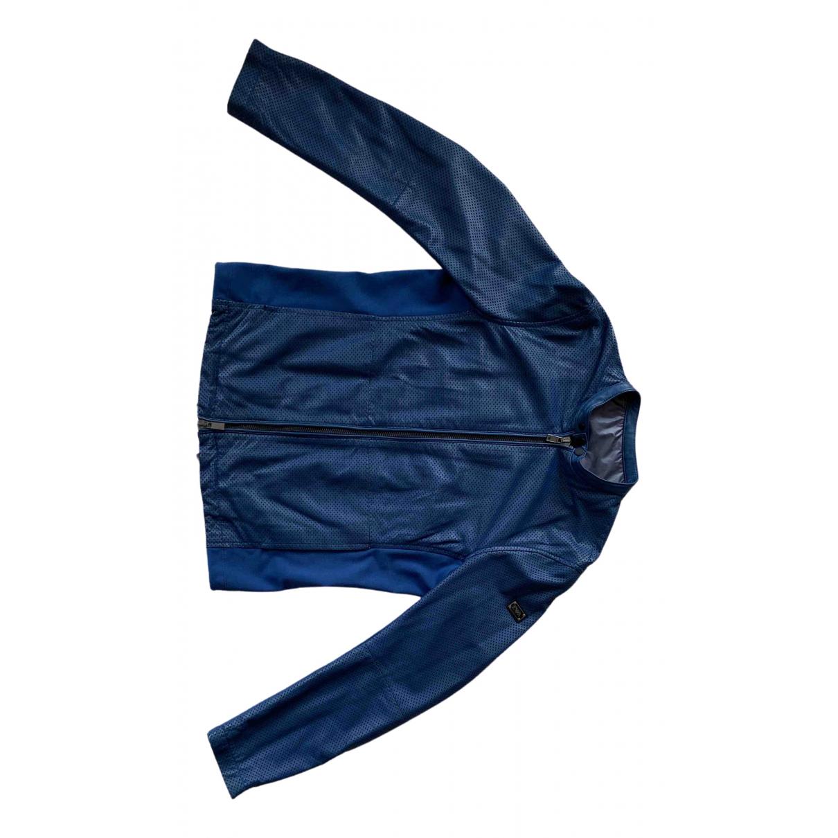 Emporio Armani - Vestes.Blousons   pour homme en cuir - bleu