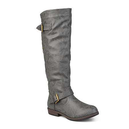 Journee Collection Womens Spokane Wide Calf Riding Boots, 9 1/2 Medium, Gray