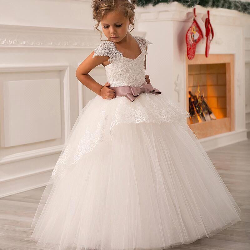 Mignon Capuchon En Dentelle Blanc Puffy Princesse Ceinture Robe De Fille De Fleur