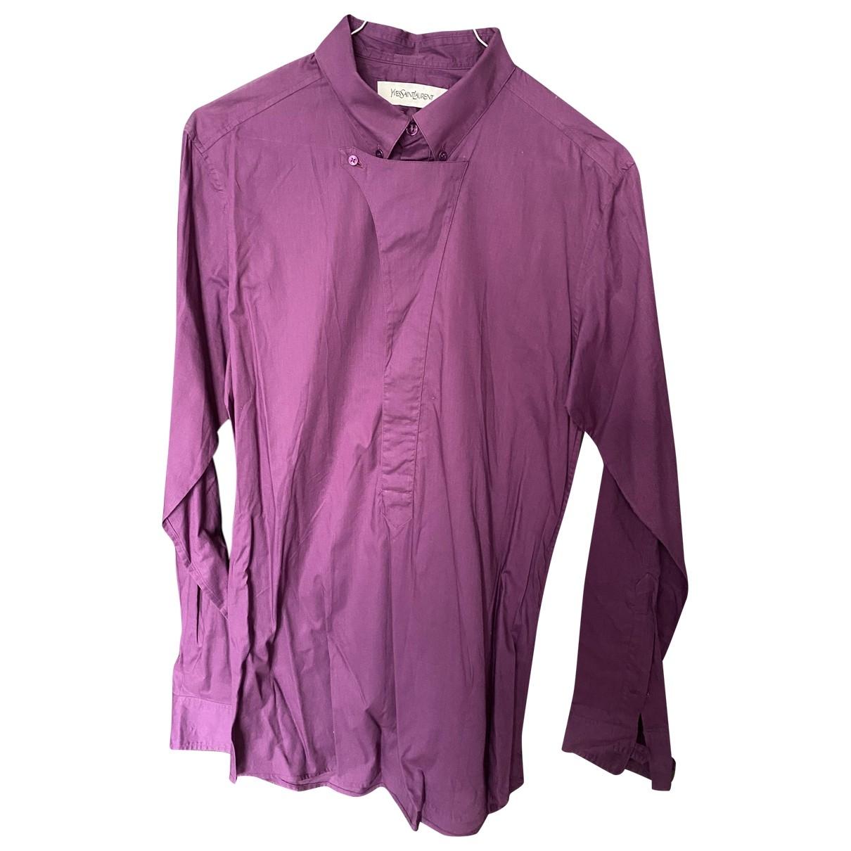 Yves Saint Laurent - Chemises   pour homme en coton - violet