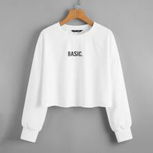 Drop Shoulder Letter Graphic Crop Pullover