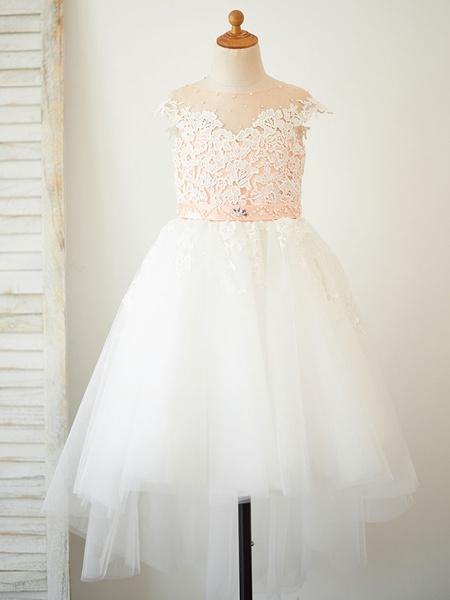 Milanoo Vestidos de niña de las flores Cuello joya Sin mangas Perlas Vestidos formales para niños