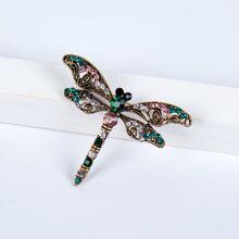 Rhinestone Dragonfly Design Brooch