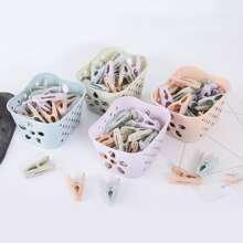 24pcs Random Color Clothespin With Basket