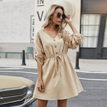 Button Knot Front Roll Tab Sleeve Dress