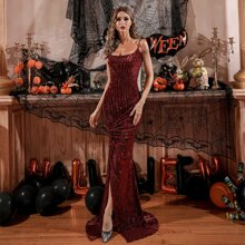 Twist Front Slit Hem Sequin Prom Dress
