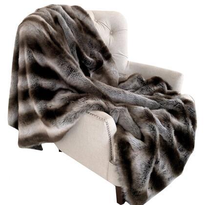 Fancy Chinchilla Collection PBSF1429-9090-TC 90L x 90W Full Gray Silver Faux Fur Handmade Luxury