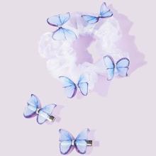 3pcs Butterfly Decor Scrunchie & Hair Clip