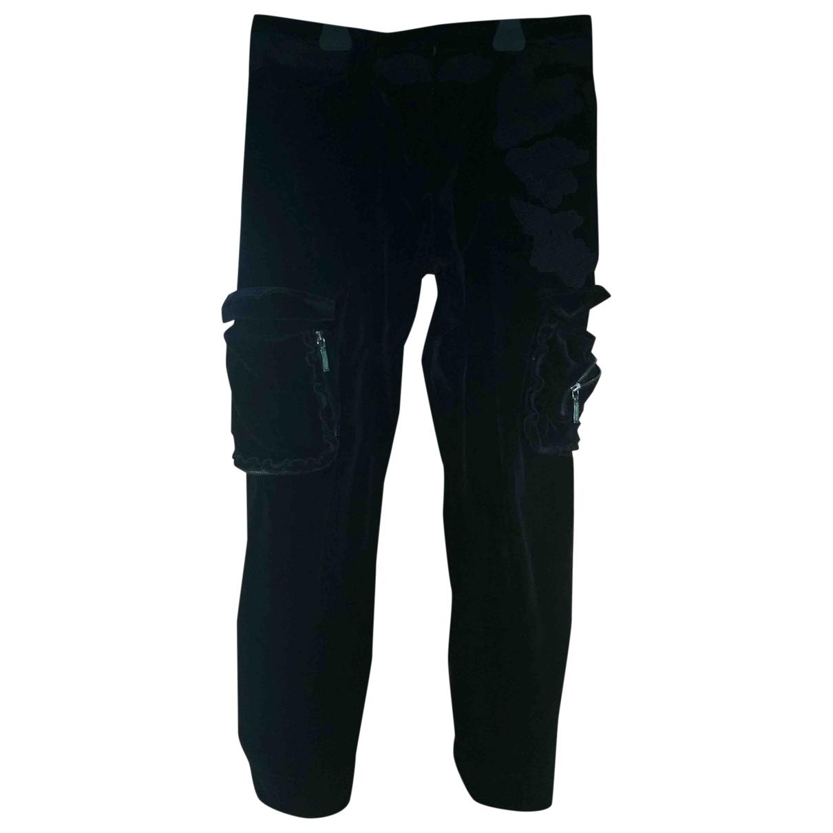 Ermanno Scervino \N Black Cotton Trousers for Women 40 IT