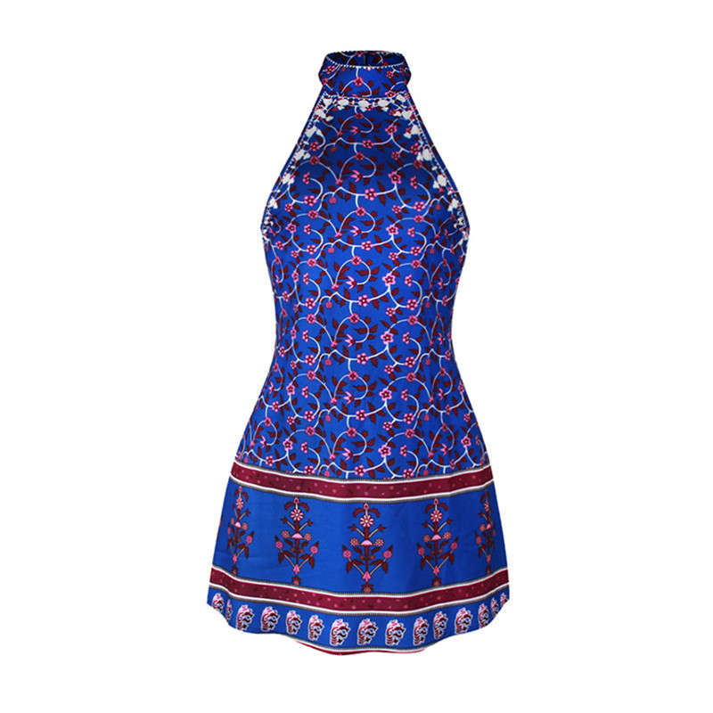 Bohemian Style Blue Colour Summer Womens' Beach Wear Cover up Beach Dress