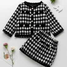 Toddler Girls Houndstooth Wool-mix Jacket With Skirt