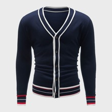 Men Striped Pattern Button Front Cardigan
