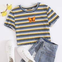 Butterfly Patched Striped Crop Top