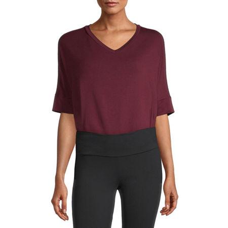 Stylus Step Hem Womens V Neck Short Sleeve Sweatshirt, X-small , Red