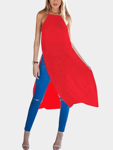 Yoins Red High Slit Design Sleeveless Midi Dresses
