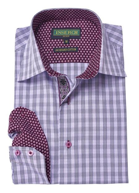 Mens Long Sleeve Collared Cotton Jacquard Contrast TrimmingShirt Lilac