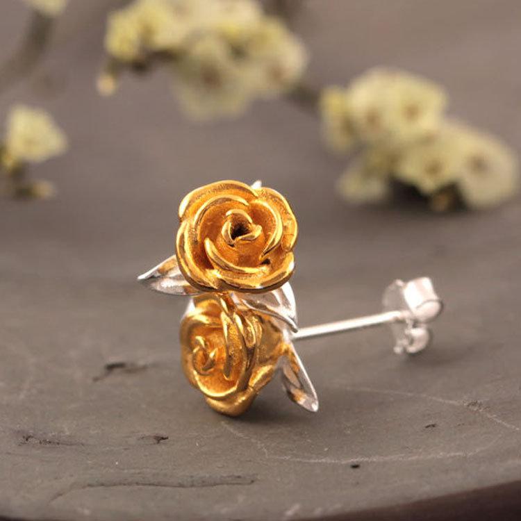 Luxury 925 Sterling Silver Rose Womens Stud Earrings Delicate Solid Flower Earrings for Women